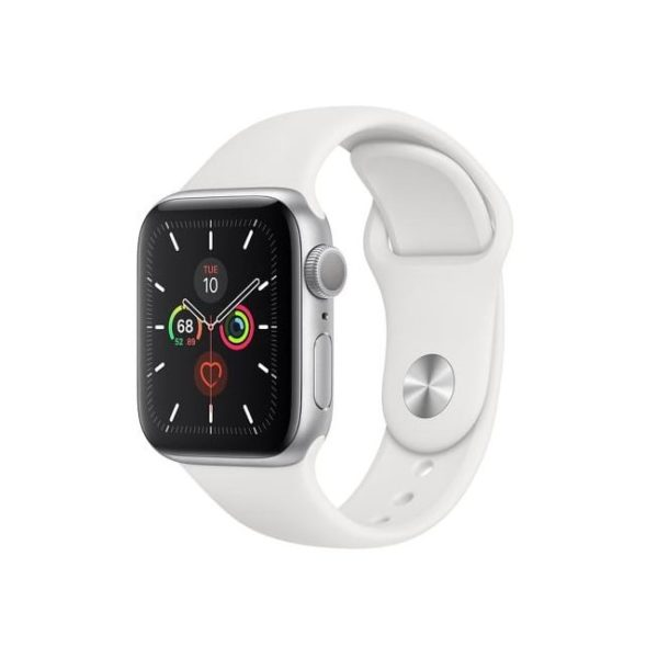 Apple Watch S5 40MM Silver with White Sport Band MWV62IDA Side