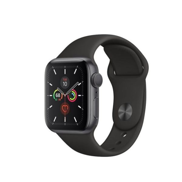 Apple Watch S5 40MM Space Grey with Black Sport Band MWV82ID/A Side