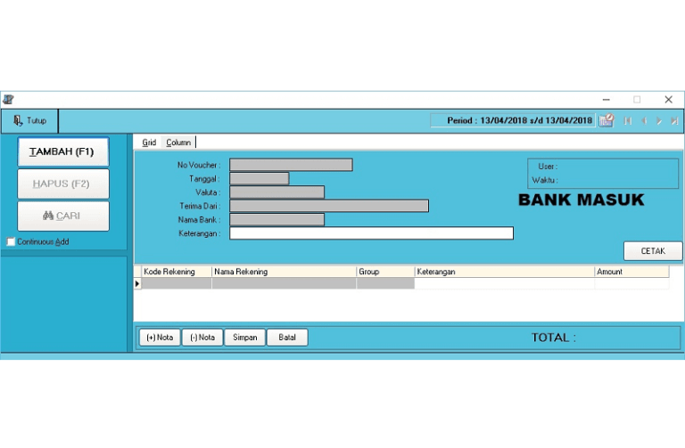 Transaksi Bank Masuk Slide